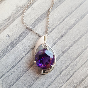 """Sol"" 14k White Gold Arizona Amethyst Pendant"