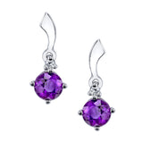 """Emma"" Sterling Silver Arizona Four Peaks Amethyst Dangle Earrings"
