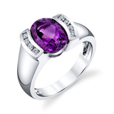"""Hannah"" 14K White Gold Arizona Amethyst Ring"