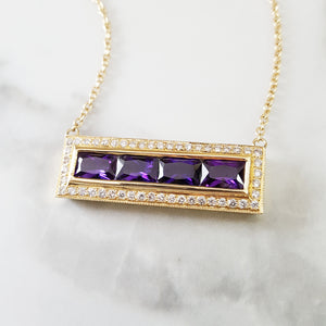 """Amara"" 14K Yellow Gold Radiant Cut Amethyst and Diamond Bar Pendant"