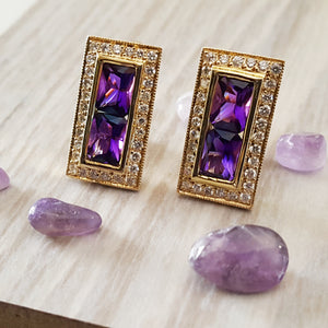 """Amaris"" 14K Gold Amethyst Earrings"
