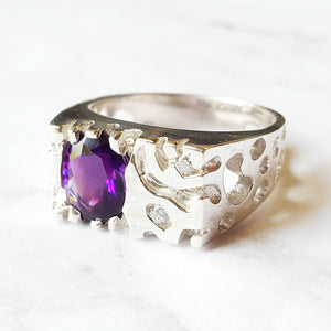 """Mesquite"" Sterling Silver Arizona Amethyst Gent's Ring"