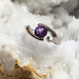 """Amber"" Sterling Silver Arizona Four Peaks Amethyst Ring"