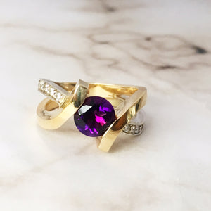 """Piper"" Two Tone Arizona Four Peaks Amethyst Gold Ring"