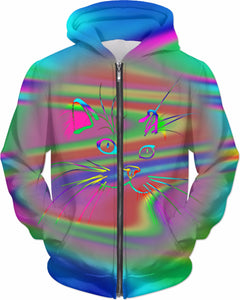 Tie Dye Cartoon Cat Hoodie