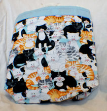 Vehicle Trash Bag - Multi-color Cats with Baby Blue Trim