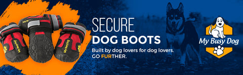 My Busy Dog Secure Dog Boots Banner