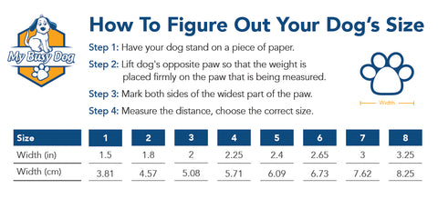 My Busy Dog Secure Dog Boot Sizing Chart