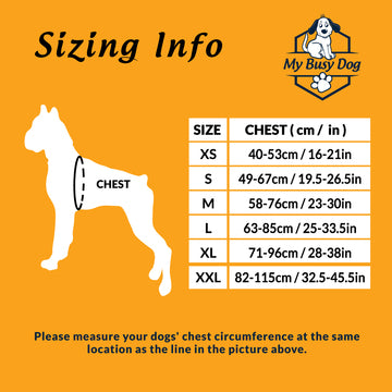 Service Dog Harness Vest - Removable Velcro Patches - Sizing Guide
