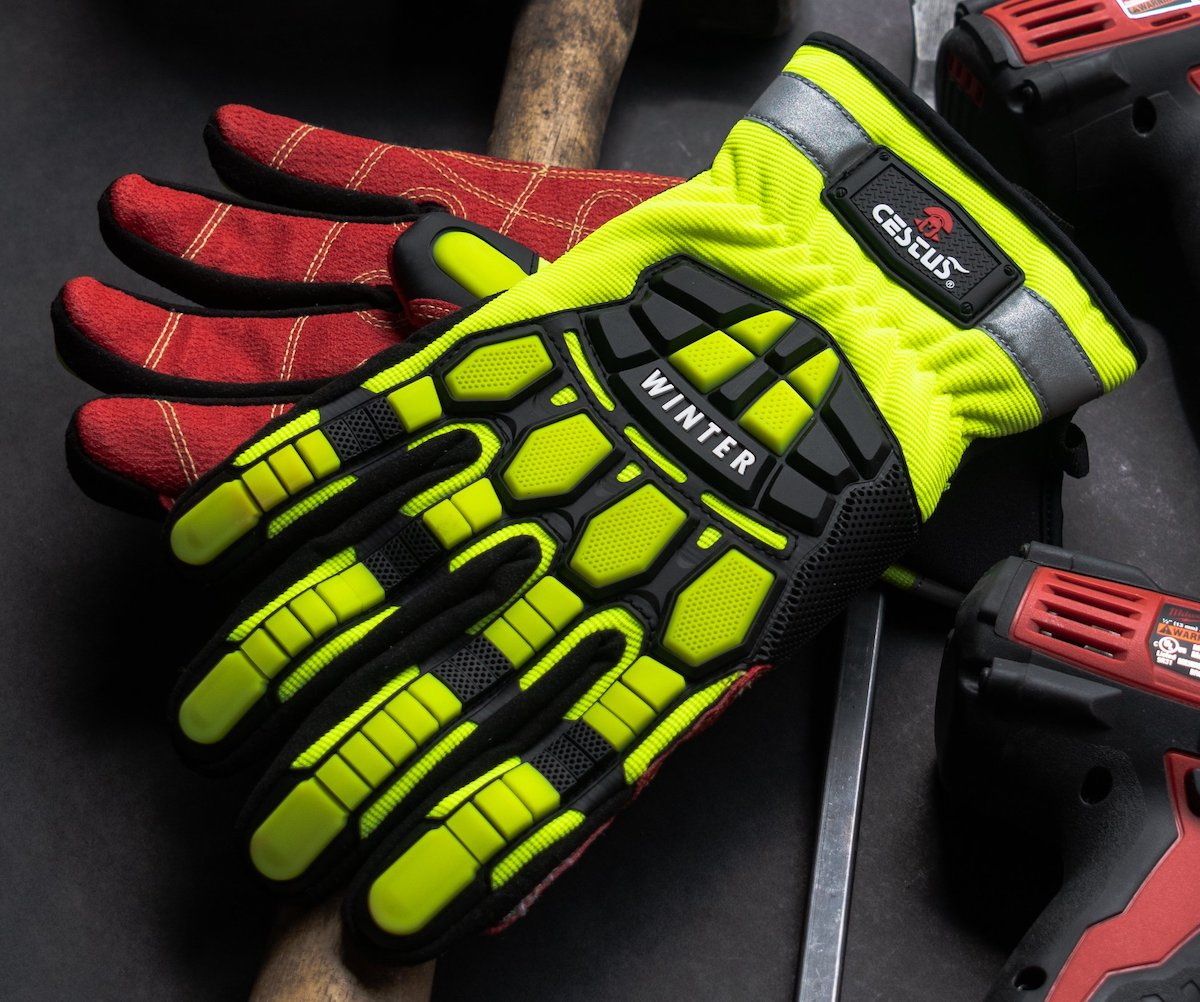 high visibility gloves in red and fluorescent yellow