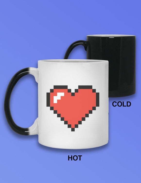 Pixel Heart Heat Mug - memesmerch