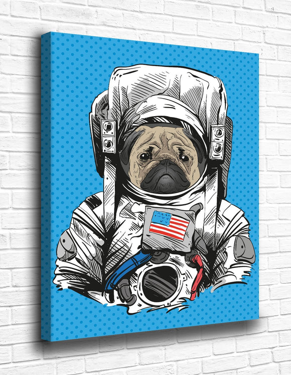 The Pug Astronaut Canvas - memesmerch
