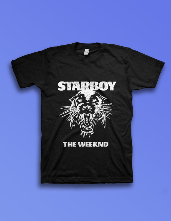 The Weeknd Starboy Panther - Mens Black T-Shirt - memesmerch