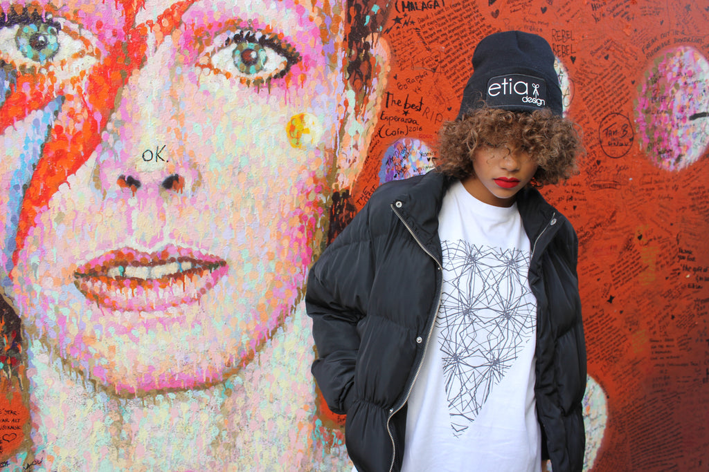 Taken in front of the legend David Bowie. Geometric triangle t-shirt