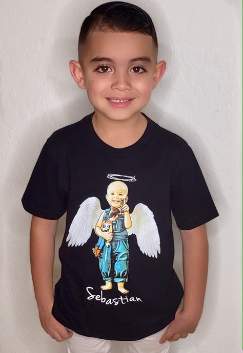 Kids TShirt - Black Sebastian Angel Wings 2019