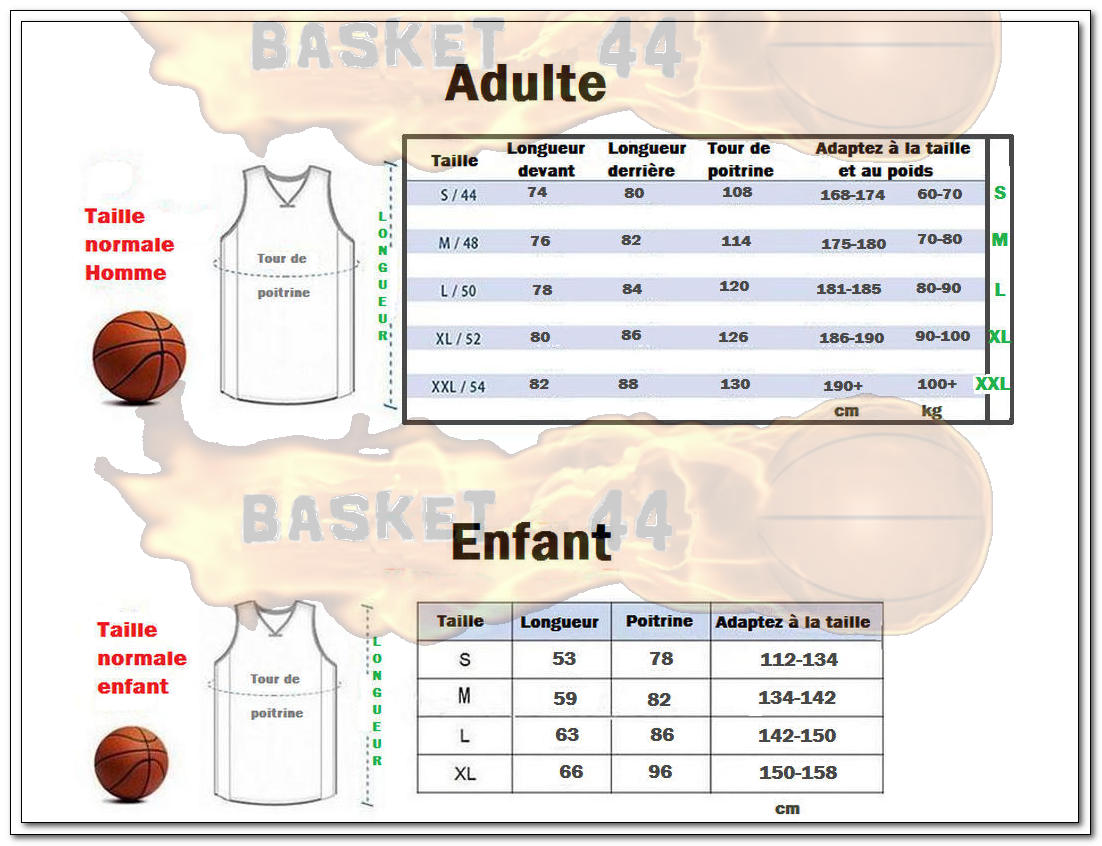 maillot nba nike guide des tailles