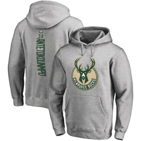 hoodies-gris-bucks-qualité-milwaukee-logo-giannis