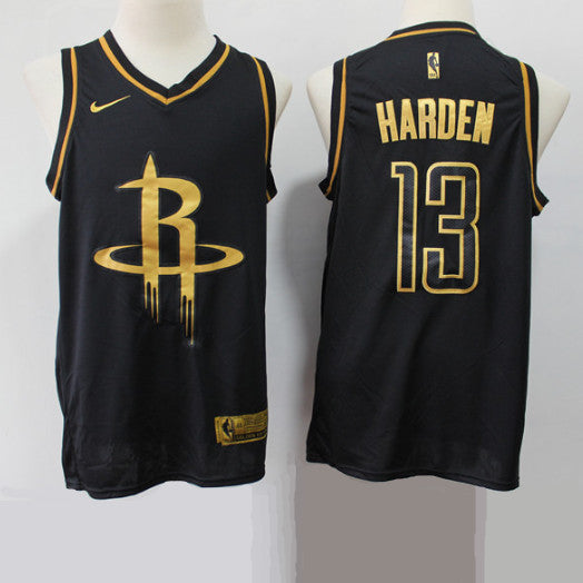 maillot-HARDEN-james-gold-basket-brodé-noir-rockets-13