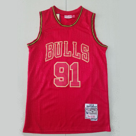 maillot-rodman-dennis-chicago-bulls-91-year of the rat-retro-rouge