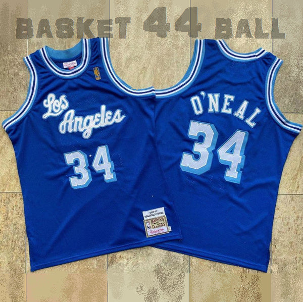 maillot-shaq-o'neal-throwback-blue navy-34-qualité-lakers-mitchell & ness