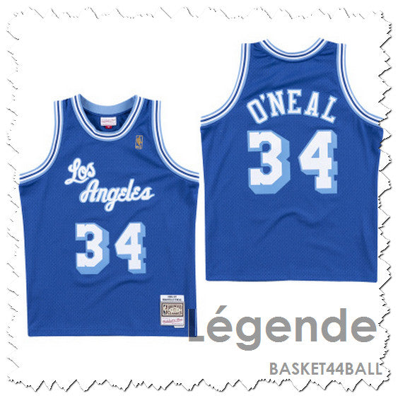 maillot-shaq-o'neal-throwback-blue navy-basket-qualité-lakers-mitchell & ness