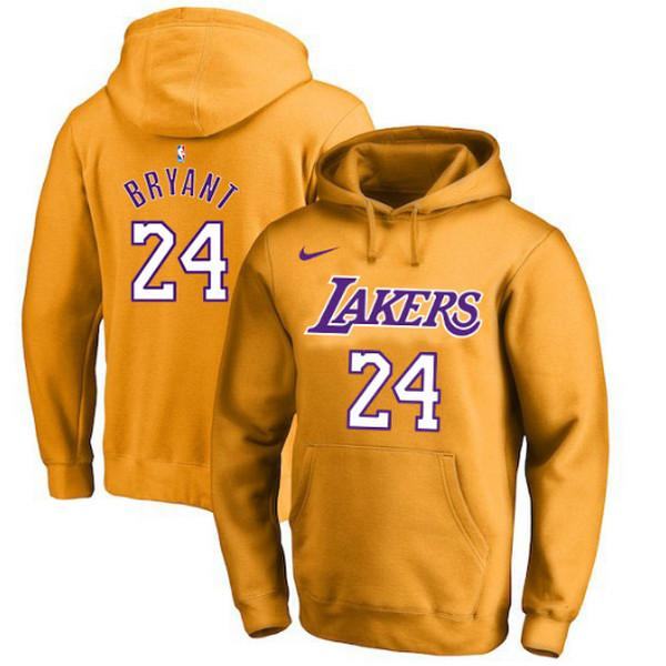 pull-hoodie-qualité-hiver-lakers-bryant-jaune