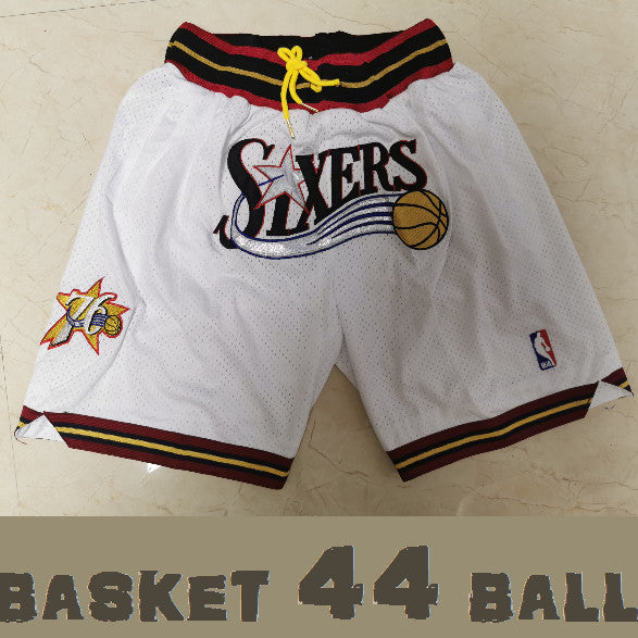 short-nba-76ers-sixers-brodé-poches-just don-blanc
