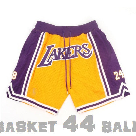 short-nba-lakers-kobe-brodé-jaune-poches-just don-24-8