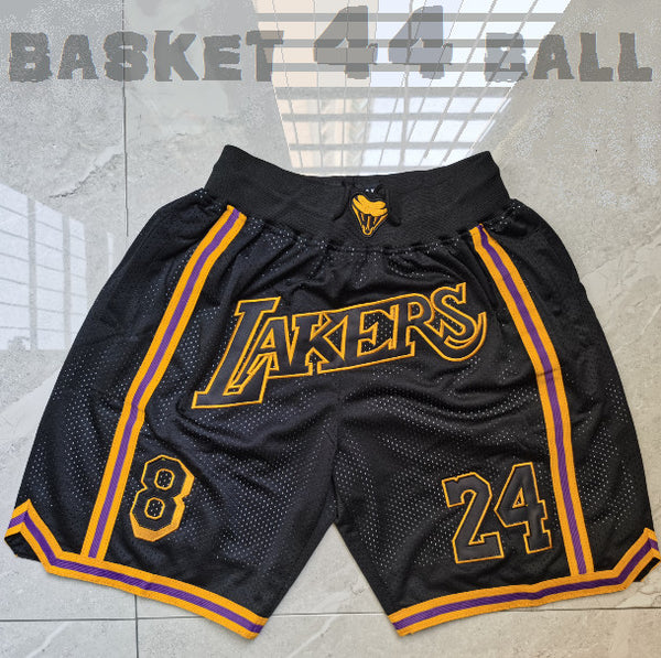 short-nba-lakers-kobe-brodé-noir-poches-just don-24-8-mamba