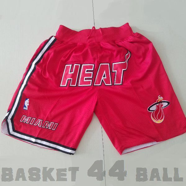 short-nba-miami-heat-brodé-poches-just don-rouge