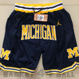 short-nba-ncaa-michigan-jordan-brodé-poches-just don-bleu