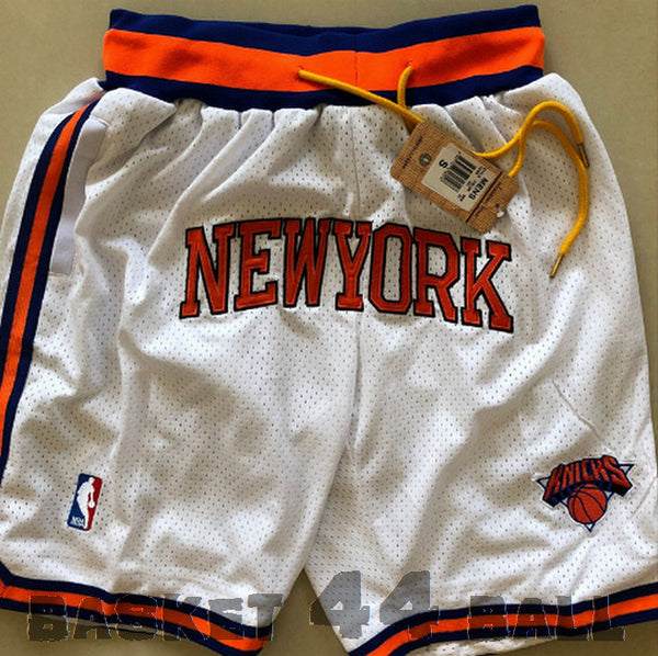 short-nba-new york-knicks-brodé-poches-just don-blanc