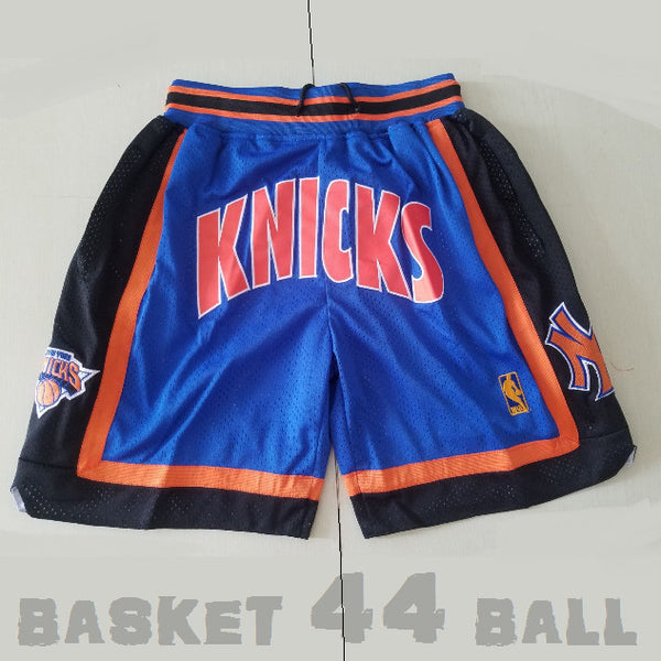 short-nba-new york-knicks-brodé-poches-just don-bleu