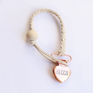 Rose Gold & Ivory Pacifier Clip - Dear Baby Kay