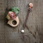 Rose Gold & Brown Pacifier Clip - Dear Baby Kay