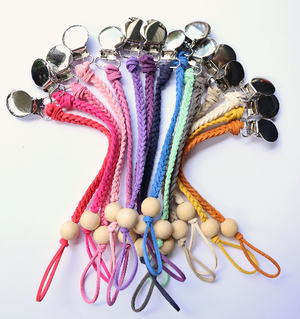 Leather braided pacifier clip with wood bead - PICK YOUR COLOR - Dear Baby Kay