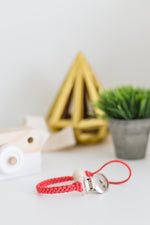 Coral Leather Braided Clip