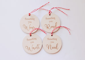 Want, Need, Read, Wear Tags | Circle