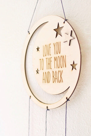 "Wooden Mobile Dream Catcher ""I love you to the moon.."""
