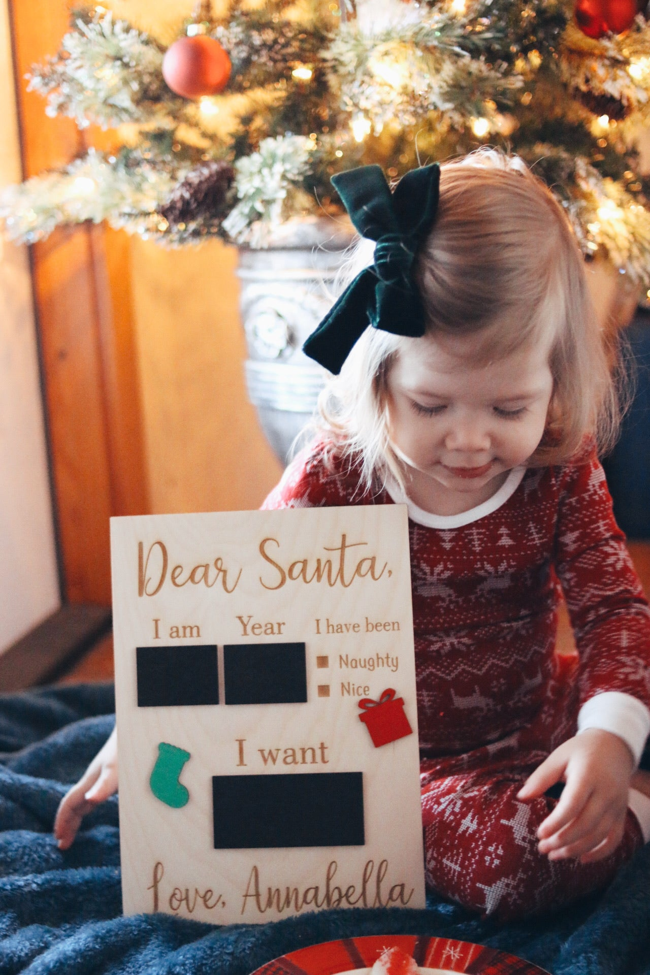 'Dear Santa' Chalkboard Sign | kids photo prop