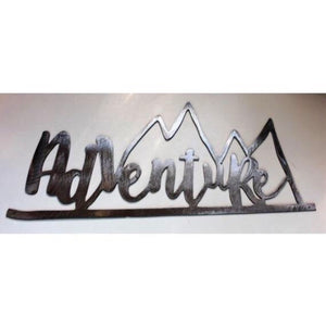 Adventure Mountain Metal Art Sign