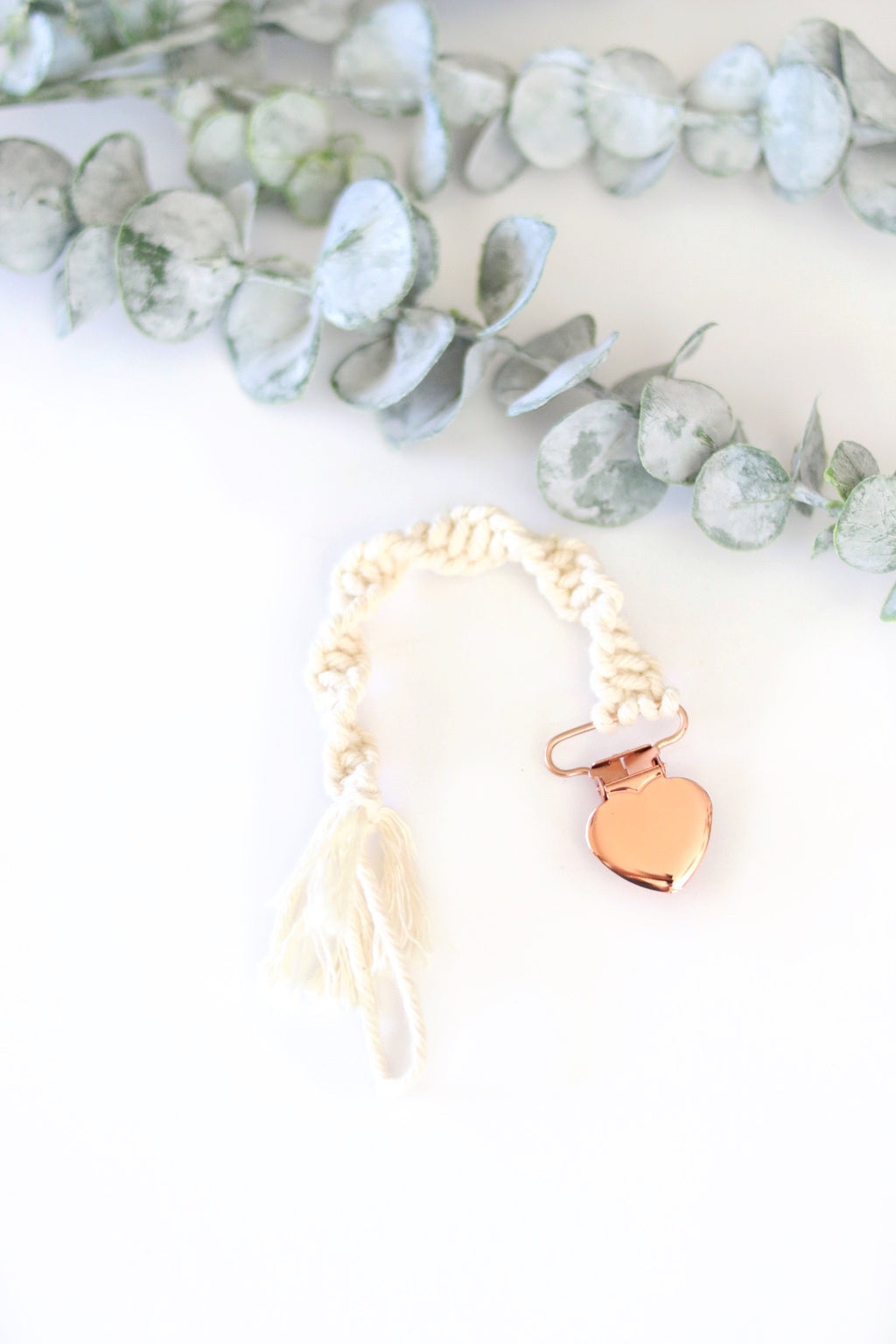 Macrame Twist Pacifier Clip | Rose Gold or Silver
