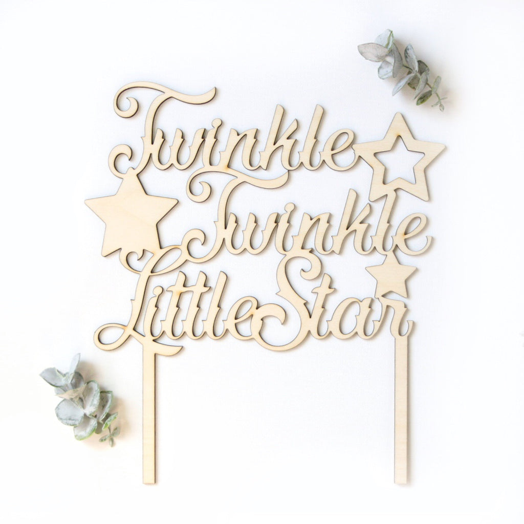 Wooden twinkle Cake Topper / baby shower / 1st birthday