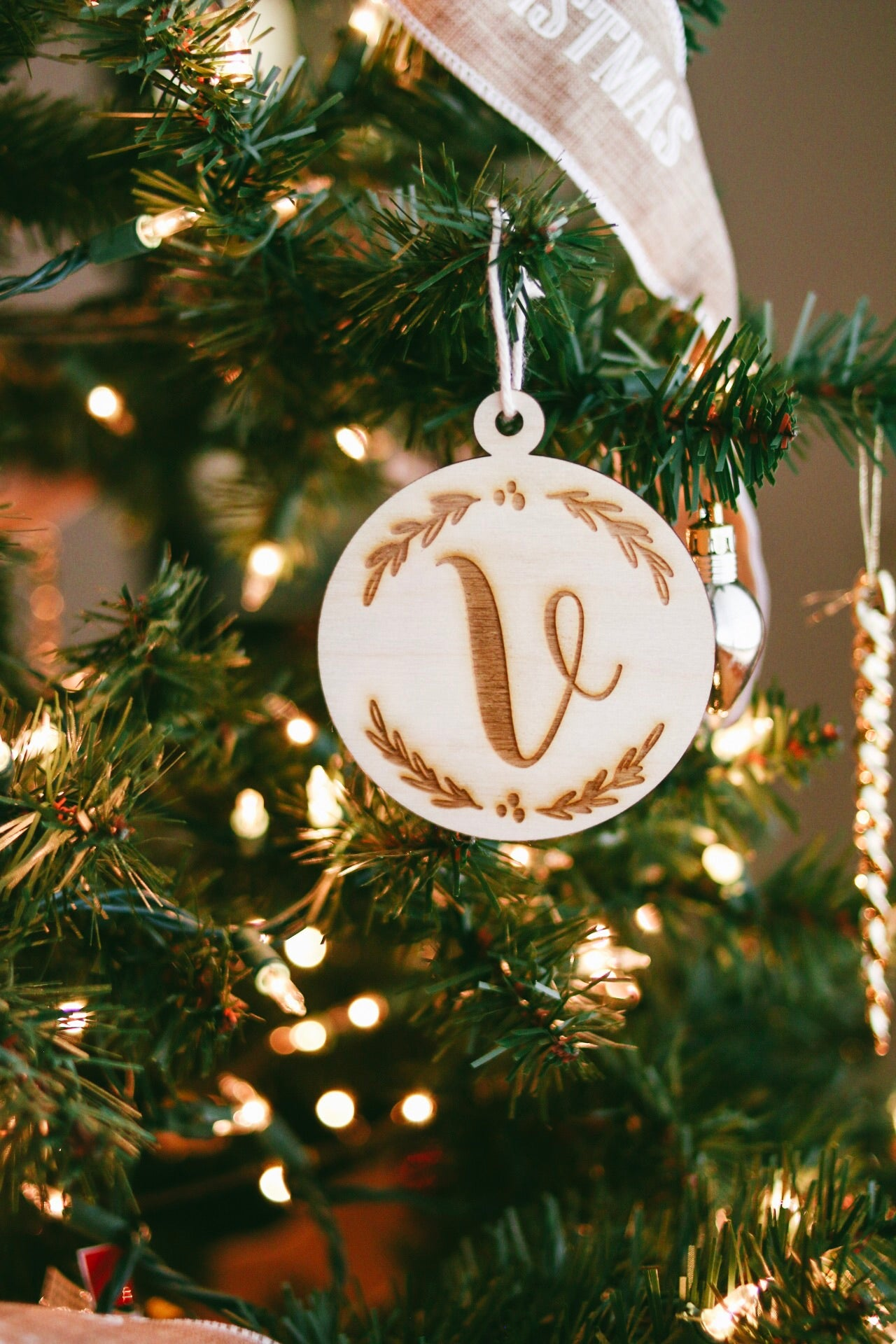 Initial Wooden Christmas Ornament | Personalized