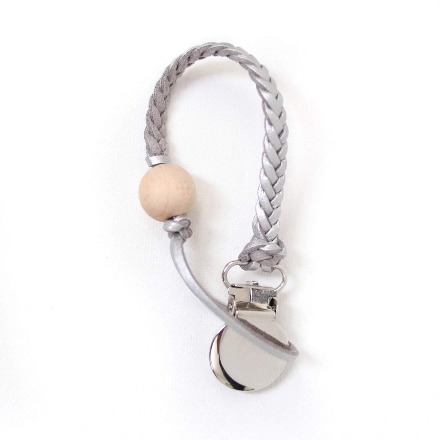 Metallic Leather Pacifier Clip
