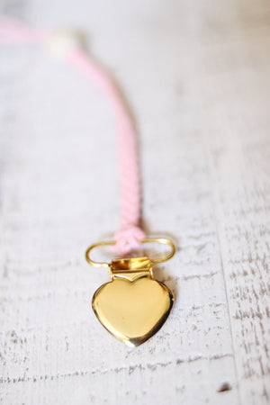 Gold Heart Pacifier Clip - Dear Baby Kay