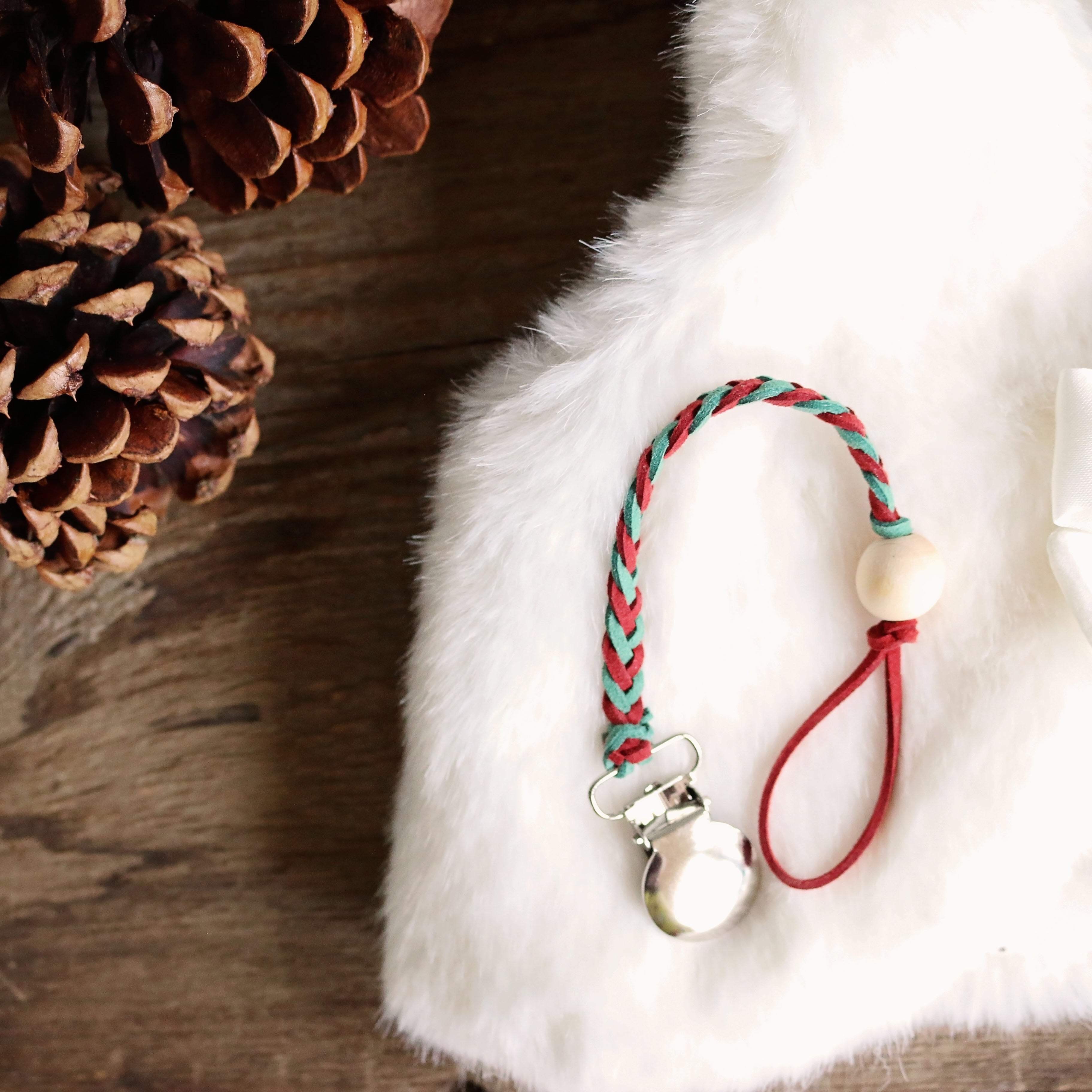 Christmas Red & Green Pacifier Clip