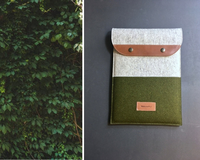 Macbook case sleeve felt by westerman bags in mossgreen