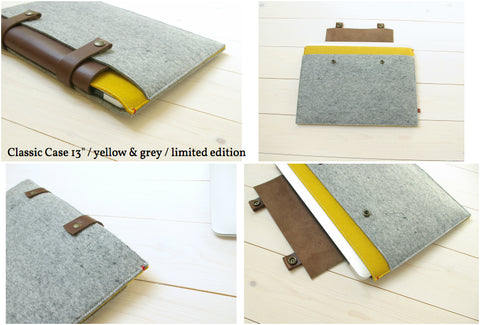 Classic Case macbook - woolfelt with extra pockets and leather closure