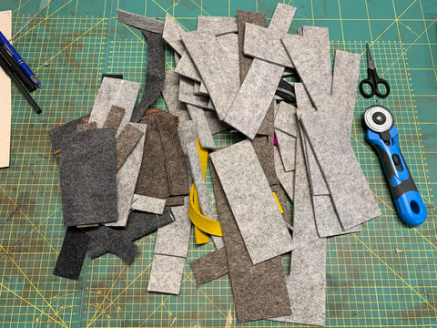 Wool felt bags and covers cutting pieces